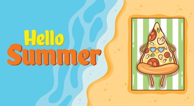 Pizza fofa tomando banho de sol na praia com uma faixa de saudação de verão
