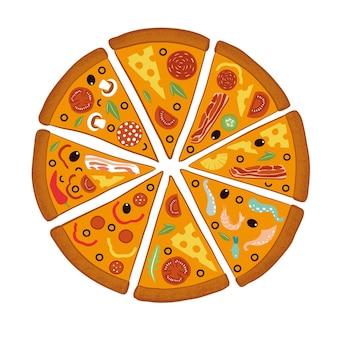 Pizza grande mix redonda, triângulo de fatias, menu de restaurante italiano, ingredientes de lanches para pizza.