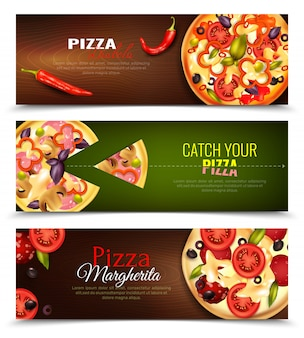 Pizza horizontal banners set