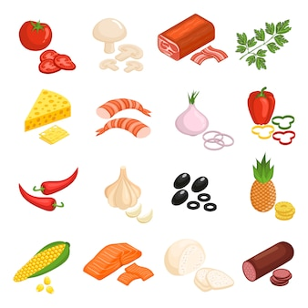 Pizza ingredientes icons set