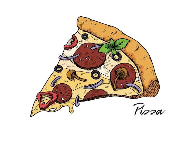 Pizza isolada em um branco