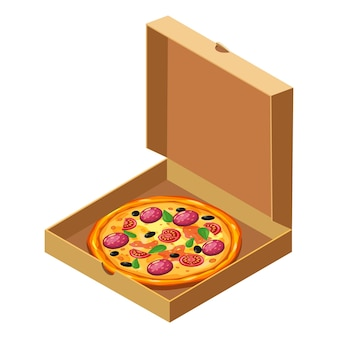 Pizza isométrica em caixa de papelão aberta modelo de pacote plano
