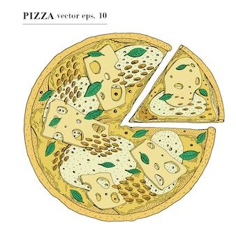 Pizza italiana com ilustração tirada mão do vetor do queijo. pode ser usado para pizzaria, café, loja, restaurante.