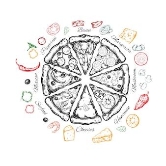 Pizza italiana com ingredientes