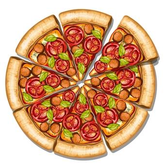 Pizza italiana com queijo mussarela derretido e tomate guarnecido de manjericão e linguiça grelhada