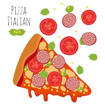 Pizza italiana com salsicha, tomate e ilustração vetorial de queijo