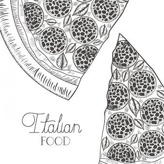 Pizza italiana deliciosa ícone isolado