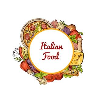 Pizza italiana, especiarias, legumes e queijo em torno do círculo com lugar para texto