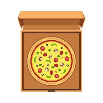 Pizza italiana na caixa de papelão aberta