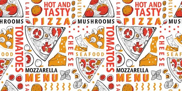 Pizza italiana tipográfica e ingredientes padrão sem emenda. modelo de comida italiana.
