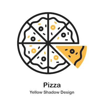 Pizza lineal color illustration