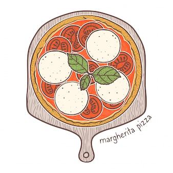 Pizza marghrita, desenho ilustração