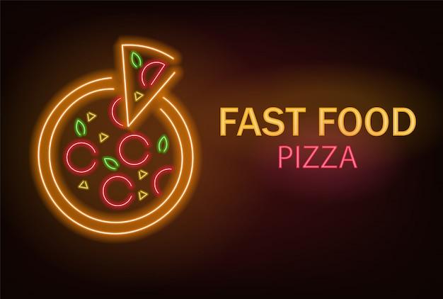 Pizza neon, fast food neon, pizza deliciosa, luz de neon