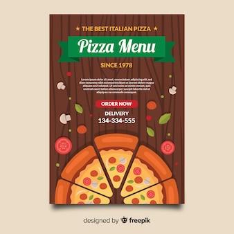 Pizza no modelo de panfleto de mesa