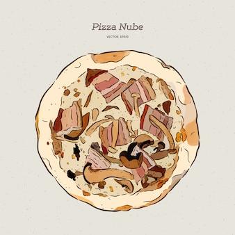 Pizza nube, becon e pizza de cogumelos.