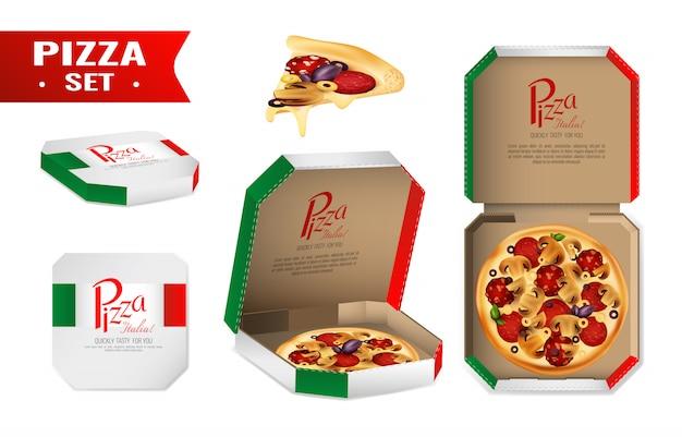 Pizza para venda realista conjunto