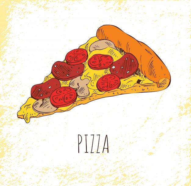 Pizza peça isolada