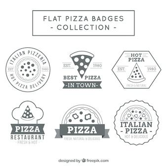 Pizza plana emblemas coleção