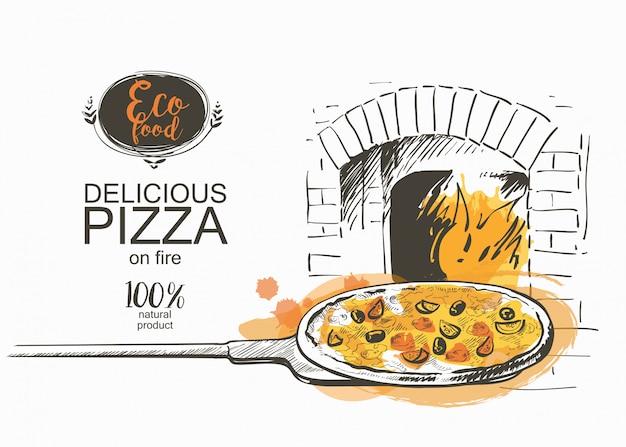 Pizza pronta para assar na ilustração vetorial de forno