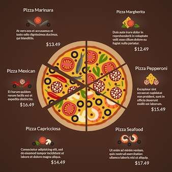 Pizza redonda com diferentes fatias de classificação e ingredientes em estilo simples. frutos do mar e margherita, capricciosa e pepperoni, mexicana e marinara