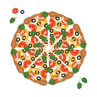 Pizza redonda cortada em rodelas com queijo, tomate e azeitonas