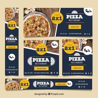 Pizza restaurante web banner coleção com fotos