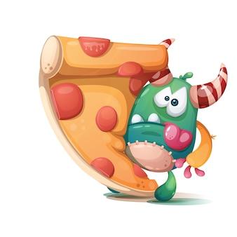 Pizza saborosa com salsicha e monstro