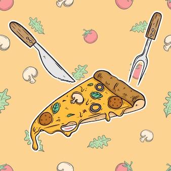 Pizza saborosa no fundo vegetal com estilo colorido mão desenhada