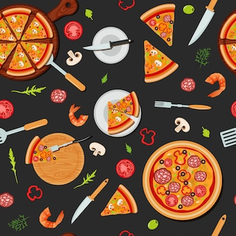 Pizza seamless pattern com ingredientes