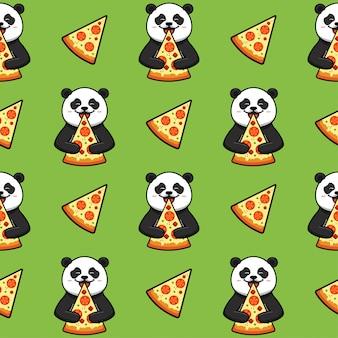 Pizza sem costura padrão, textura, impressão, superfície com panda. comida italiana