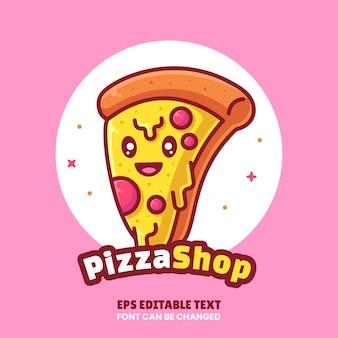 Pizza shop logo cartoon vector icon illustration logotipo de fast food premium em estilo simples para restaurante