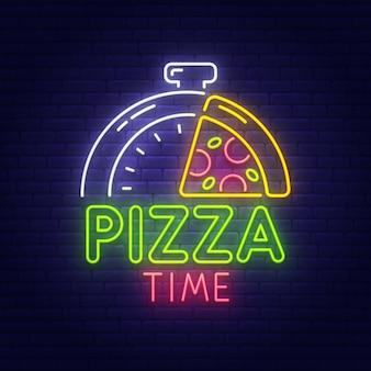 Pizza tempo sinal de néon