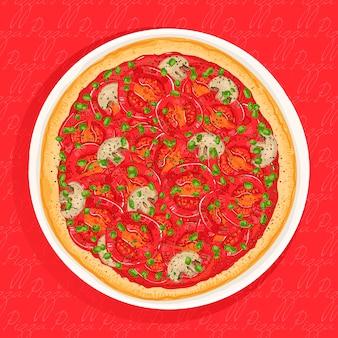 Pizza vegetariana de tomate