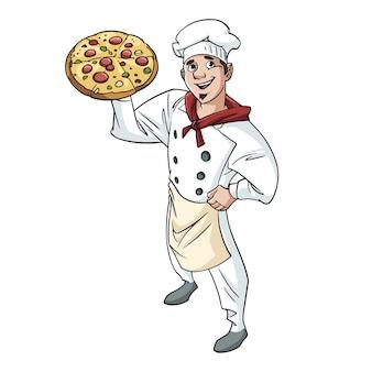 Pizzaman ensinando uma pizza