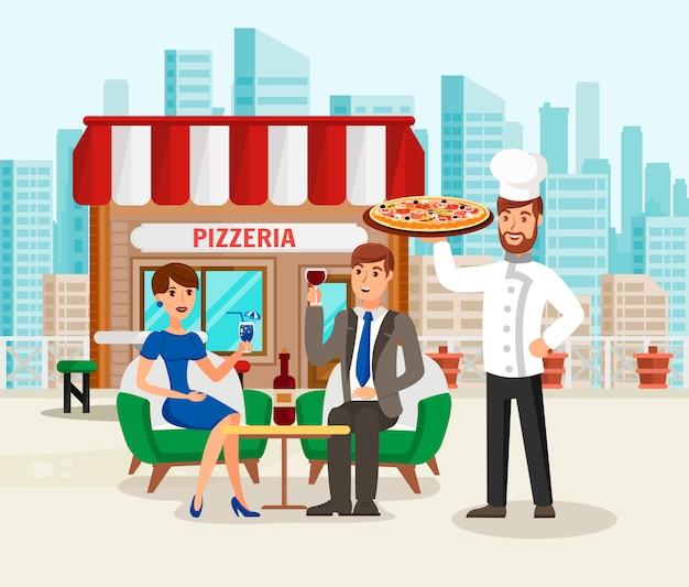 Pizzaria com ilustração de desenhos animados de clientes feliz