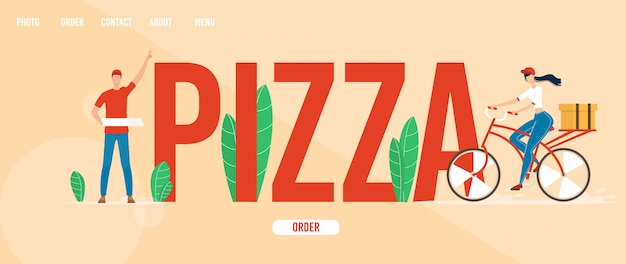 Pizzaria web banner, modelo de página de destino