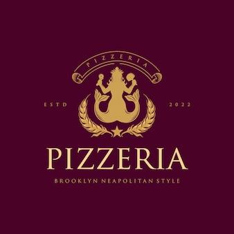 Pizzeria classic elegant logo restaurantes e cafés