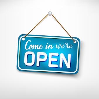 Placa azul voltar mais tarde estamos fechados. sinal de publicidade para portas de entrada, abertura de loja