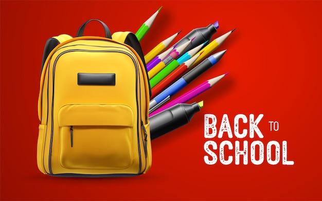 Placa branca de volta às aulas com mochila escolar amarela e artigos de papelaria isolados em fundo vermelho