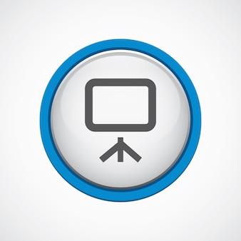 Placa brilhante com ícone de traço azul, círculo, isolado
