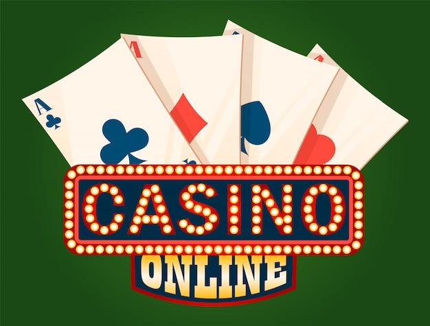Placa brilhante do casino e plataforma de ás cartões