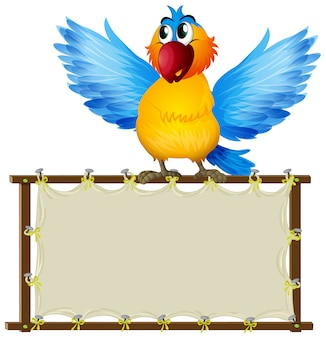 Placa com papagaio fofo