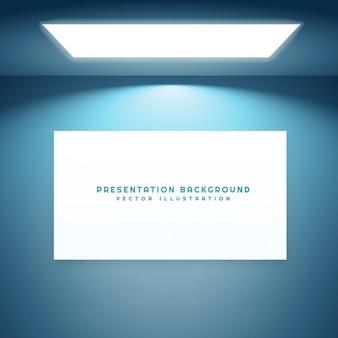 Placa da apresentação em sala vazia