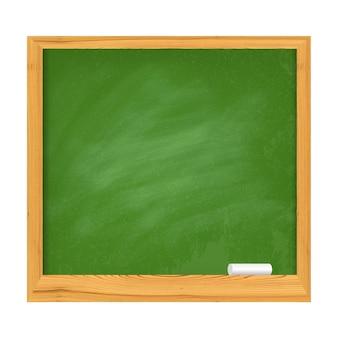 Placa da escola verde com bordas de madeira e pedaço de giz