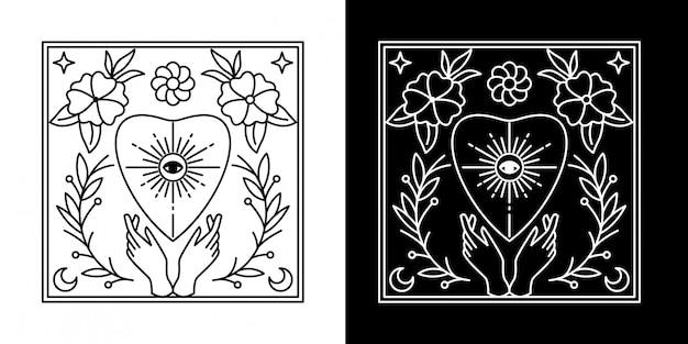 Placa da flor com mão monoline design