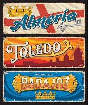 Placa das províncias espanholas de ameria, toledo e badajoz
