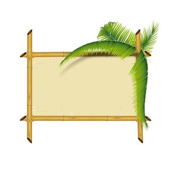Placa de bambu isolada no branco