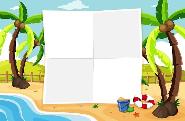 Placa de banner vazia em cenário de praia tropical