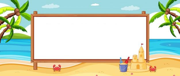 Placa de banner vazio no cenário de praia tropical