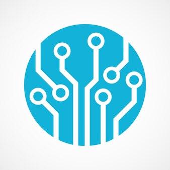 Placa de circuito azul em forma circular